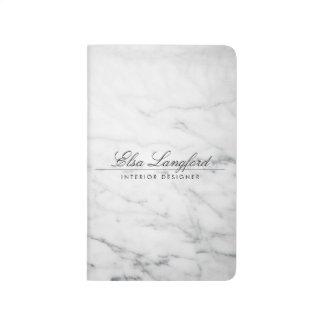 Modern White Marble Luxury Designer Pocket Journal