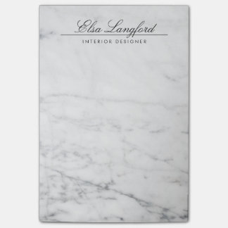 Modern White Marble Luxury Designer Post-it® Notes