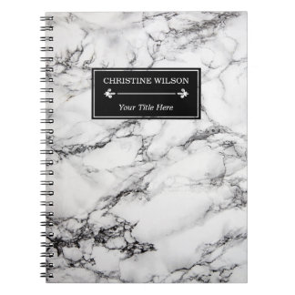 modern white marble notebook