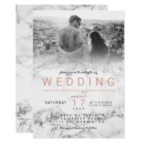 Modern white marble ombre simple photo wedding invitation