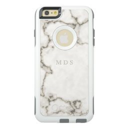 Modern White Marble OtterBox Custom Initials OtterBox iPhone 6/6s Plus Case