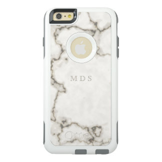 Modern White Marble OtterBox Custom Initials OtterBox iPhone 6/6s Plus Case