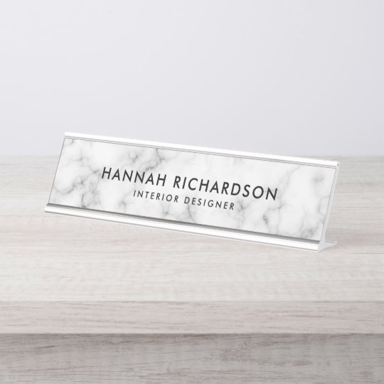 Modern White Marble | Personalized Desk Name Plate