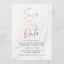 Modern White Marble Rose Gold Script Save The Date
