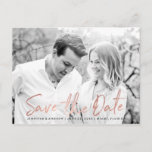 """Modern White Marble Rose Gold Script Save The Date Announcement Postcard<br><div class=""""desc"""">Stylish modern wedding save the date postcards featuring a faux rose gold foil trendy script font overlay,  placeholders for your custom text and engagement photo,  and white marble background. The back of the postcard features the option for custom text or can be left blank for a handwritten message.</div>"""