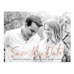Modern White Marble Rose Gold Script Save The Date Postcard