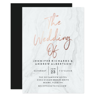 Modern White Marble Rose Gold Script | Wedding Card