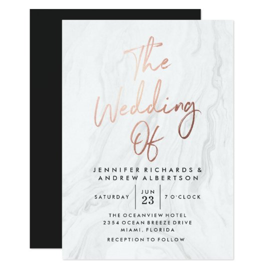 Modern white marble rose gold script wedding card zazzle modern white marble rose gold script wedding card stopboris Image collections