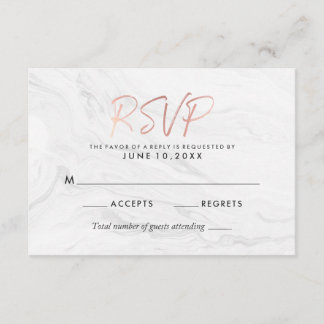Modern White Marble Rose Gold Script Wedding RSVP
