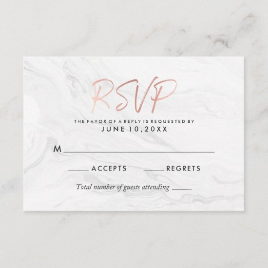 Modern White Marble Rose Gold Script Wedding RSVP
