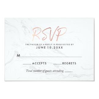 Modern White Marble Rose Gold Script Wedding RSVP Invitation