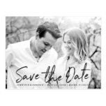 Modern White Marble Script | Save The Date Postcard