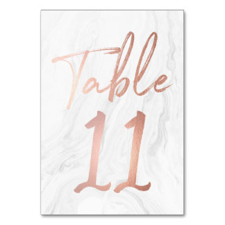 Modern White Marble Script   Table Number Card 11