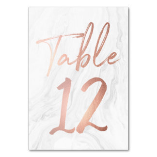 Modern White Marble Script | Table Number Card 12