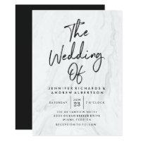 Modern White Marble Script | Wedding Invitation