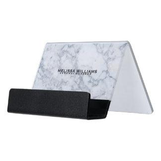 Modern White Marble Stone Texture Desk Business Card Holder