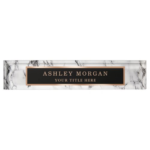 Modern White Marble Stone Texture Look Personalize Desk Name Plate