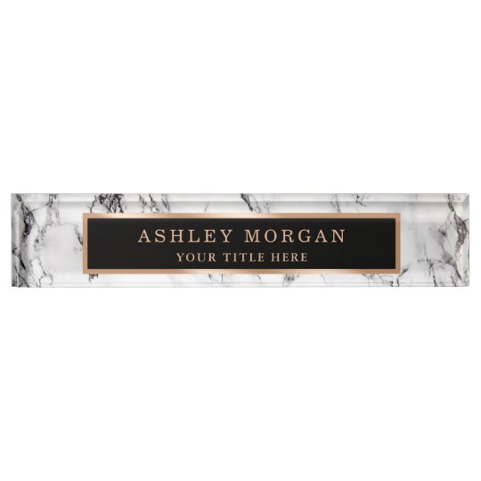 Modern White Marble Stone Texture Look Personalize Desk