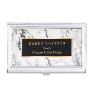 Modern White Marble Stone Texture Stylish Look Business Card Case