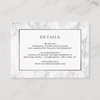 Modern White Marble Wedding Details Enclosure Card