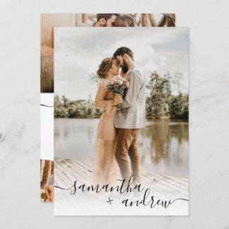 Modern white minimalist script 5 photos wedding invitation