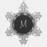 Modern White Monogram On Stylish Abstract Pattern Snowflake Pewter Christmas Ornament