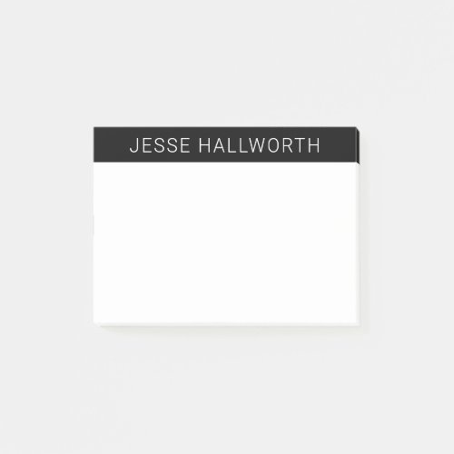 Modern White Name or Business on Black Post_it Notes