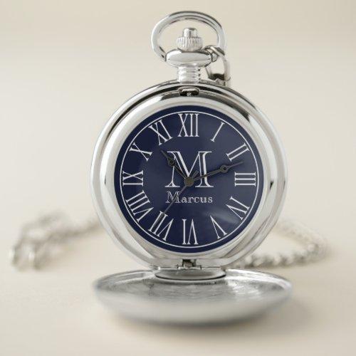 Modern White & Navy Blue with Custom Name Pocket Watch