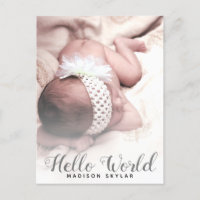 Modern White Overlay Hello World Script Photo Announcement Postcard
