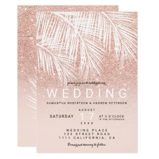 Modern white palm tree faux rose gold wedding card