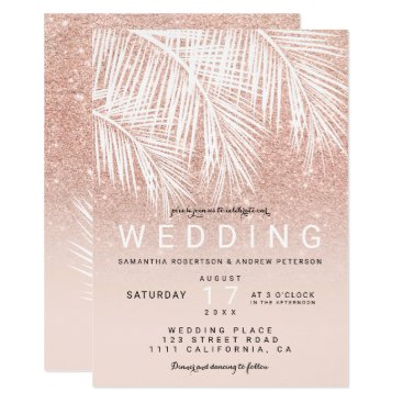 Beach Themed Modern white palm tree faux rose gold wedding card