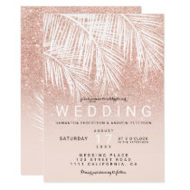 Modern white palm tree faux rose gold wedding invitation