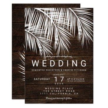 Beach Themed Modern white palm tree rustic brown wood wedding card