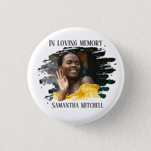 Modern White Photo Funeral Button