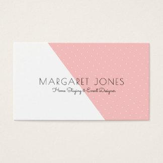 Modern White & Pink Geometric Business Card