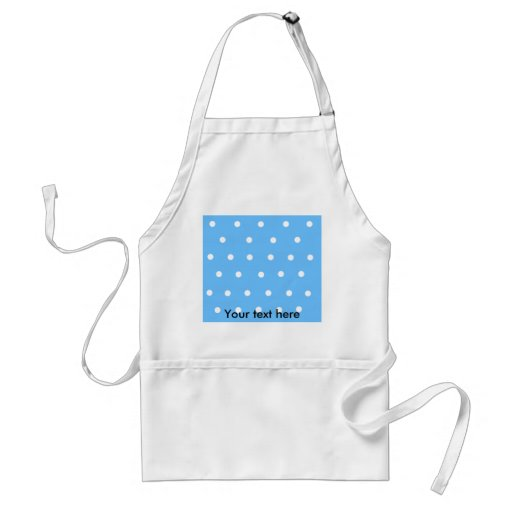 Modern white polka dots on baby blue background aprons