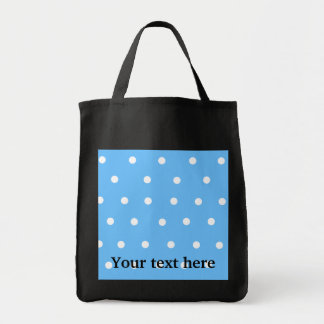 Modern white polka dots on baby blue background canvas bags