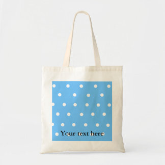 Modern white polka dots on baby blue background bag