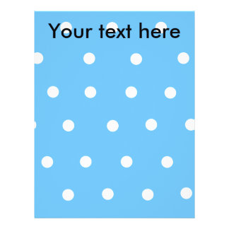 "Modern white polka dots on baby blue background 8.5"" x 11"" flyer"