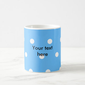 Modern white polka dots on baby blue background classic white coffee mug