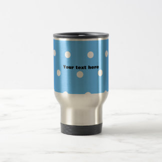 Modern white polka dots on baby blue background 15 oz stainless steel travel mug