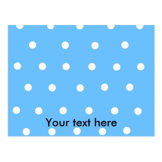 Modern white polka dots on baby blue background postcard