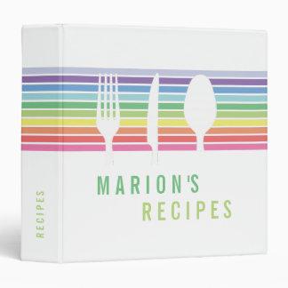 Modern White Rainbow Cooking Recipe Book Binder