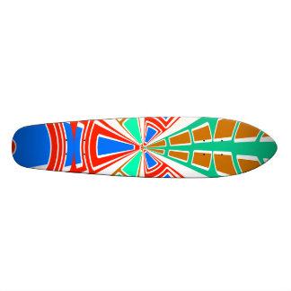 Modern white red blue semi-circle design custom skate board