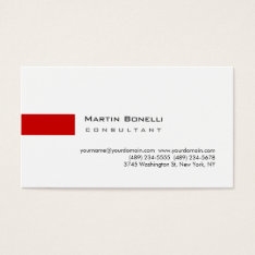 Modern White Red Simple Consultant Business Card at Zazzle