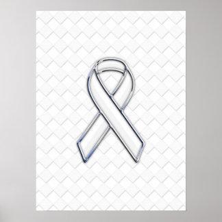 Modern White Ribbon Awareness on Checkers Print