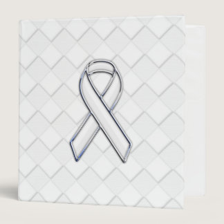 Modern White Ribbon Awareness on Checkers Print 3 Ring Binder