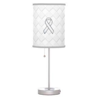 Modern White Ribbon Awareness on Checkers Print Desk Lamp