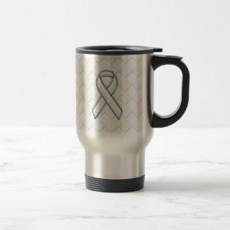 Modern White Ribbon Awareness on Checkers Print Travel Mug