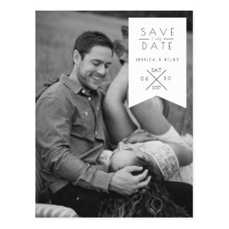 Modern White Ribbon | Save The Date Photo Postcard